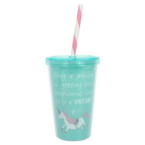 Unicorn drinking cup with straw