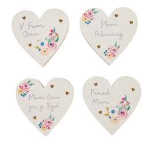 Mam Heart Coasters - Welsh Mother's Day gifts