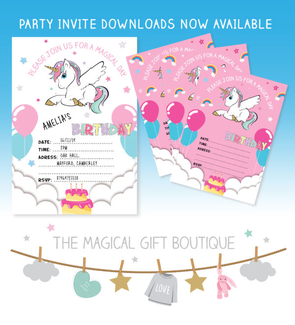 graphic about Printable Party Invite named Printable Unicorn Birthday Invites